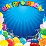 Färgrik bakgrundsmall för lycklig födelsedag Royaltyfri Foto