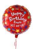 färgrik ballongfödelsedag Arkivbilder