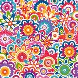 Färgrik blom- modell. Sömlös bakgrund. Arkivbild