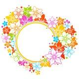 färgrik blom- ram Arkivfoto
