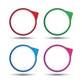 Färgrik cirkelbubblaetikett för idérikt arbete Royaltyfri Fotografi