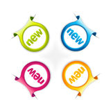 färgrik etikettset Arkivfoto