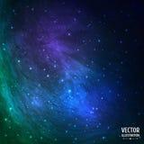 Färgrik gräsplan och blå kosmisk bakgrund med Royaltyfri Bild