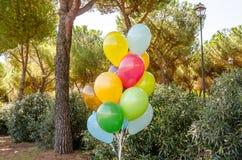 Färgrik grupp av heliumballonger Arkivfoto