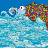 Färgrik gullig fisk Arkivfoton