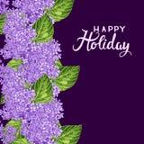 Färgrik hand dragen blom- bakgrund med lilan Arkivbild