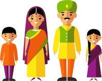 Färgrik illustration för vektor av den indiska familjen i nationell kläder Royaltyfri Bild