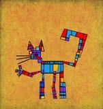 Färgrik katt i kubistisk stil Royaltyfri Fotografi