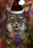 Färgrik katt med julhatten Fotografering för Bildbyråer