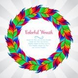 Färgrik krans av regnbågefjädrar Royaltyfri Foto
