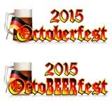 Färgrik logo för vykort och hälsningar med Oktoberfest Royaltyfri Bild