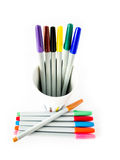 Färgrik magisk penna på vit bakgrund Royaltyfria Bilder