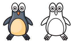 Färgrik och svartvit pingvin för färgläggningbok Royaltyfria Bilder