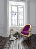 Färgrik purpurfärgad fåtölj i en chic inre Royaltyfri Fotografi
