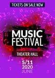 Färgrik reklamblad för mall för konsert för vektormusikfestival Musikalisk reklambladdesignaffisch med anmärkningar Royaltyfri Bild