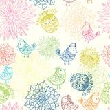 Färgrik seamless modell med fåglar i blommor Arkivfoto