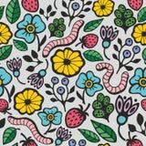 Färgrik sömlös bakgrund med flora och faunor i trädgården Royaltyfria Bilder