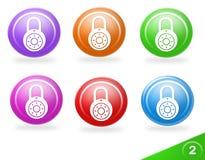 färgrik symbolssäkerhetsset Arkivfoto