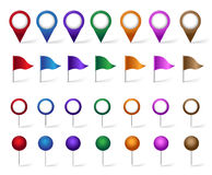 Färgrik uppsättning av läge, ställen, loppet och destinationen Pin Icons Arkivbilder