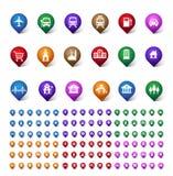 Färgrik uppsättning av läge, ställen, loppet och destinationen Pin Icons Fotografering för Bildbyråer