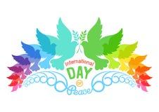 Färgrika abstrakta konturer av duvor med olivgrön frunch Illustration av den internationella freddagen, September 21 Arkivfoto