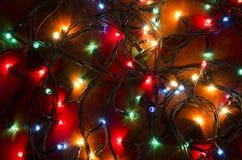 Färgrika blinkande ljus för jul Arkivfoto