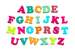 färgrika bokstäver för alfabet Arkivfoton