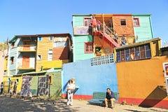 Färgrika byggnader, La Boca i Buenos Aires Arkivbild