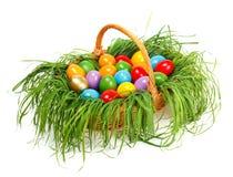 Färgrika easter ägg i korg Arkivfoto