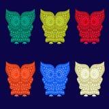 Färgrika gulliga Owl Characters - illustration Royaltyfria Foton