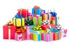 färgrika gåvor för ask Royaltyfri Bild