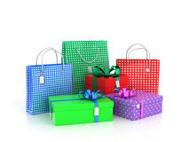 Färgrika gåvor och packar Fotografering för Bildbyråer