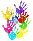 färgrika handtryck Arkivfoto
