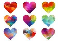 Färgrika hjärtor med den geometriska modellen, vektor Arkivbilder