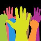 Färgrika händer Fotografering för Bildbyråer