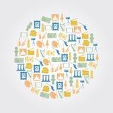 Färgrika konstsymboler i cirkel Arkivbilder