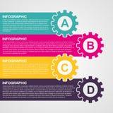 Färgrika kugghjul för Infographic designstil Arkivbilder