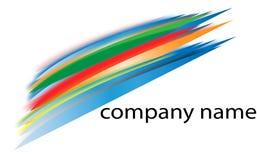 Färgrika linjer logo på en vit bakgrund för företag Royaltyfria Foton