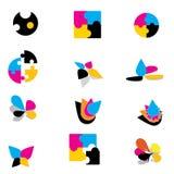 färgrika logoer Arkivfoton
