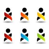 Färgrika logoer för abstrakt folk Arkivfoto
