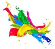 Färgrika målarfärgfärgstänk Royaltyfri Bild