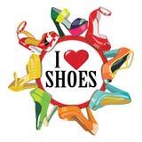 Färgrika modekvinnors skor för höga häl. Mode il Arkivfoton