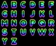 Färgrika neonbokstäver Arkivbilder