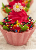 Färgrika och artistiska muffin Arkivfoto