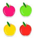 Färgrika äppleetiketter Royaltyfri Fotografi