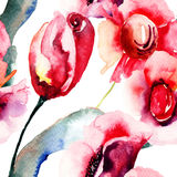 Färgrika röda blommor Arkivbild