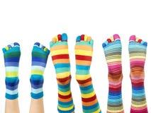 färgrika sockor Arkivbild