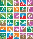 färgrika sportsommarsymboler Royaltyfri Bild