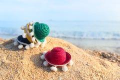 Färgrika sugrörsombrero på stranden Royaltyfri Bild