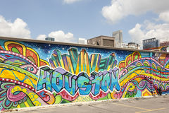 Färgrikt grafittikonstverk i Houston, Texas Royaltyfri Fotografi